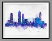 Atlanta GA Skyline Watercolor Art Print Poster - Housewarming, Gift Idea Home Decor, Wall Hanging, Atlanta Georgia Art