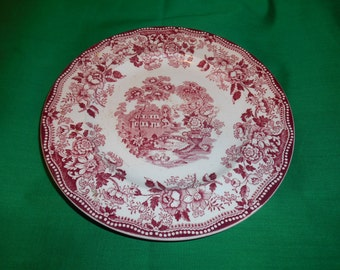 """One, (1) 7 7/8"""" Salad Plate, from Royal Staffordshire's, Clarice Cliff, in the Tonquin-Red/Pink Pattern."""