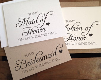 To my Maid Matron of HONOR or BRIDESMAID on my wedding day - Special THANKS - Notecard - Recycled - Eco Friendly