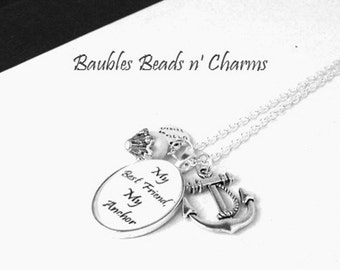 Best Friends Anchor Necklace, Personalized Charm Necklace, Custom Charm Necklace, Photo Charm Necklace, Quote Necklace