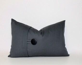 Charcoal Grey button lumbar pillow cover, 12x18 decorative sofa throw pillow, home decor accent