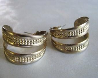 Vintage Earrings - Double Hoop Earrings - Goldtone Hoops - Unique Hoop Earrings
