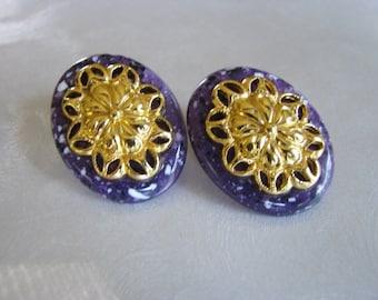 Oval Purple and Gold Plated Vintage Stud Earrings - Vintage Post Earrings