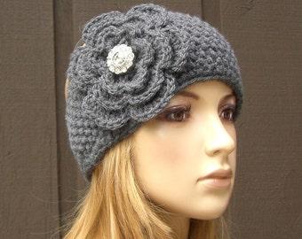 Crochet Flower Knit Headband Head Wrap Earwarmer Gray Grey with Sparkle Button,