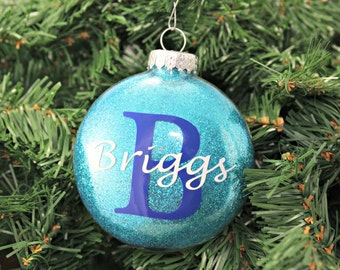 Teal Pink Glitter Personalized Glass Ornament / Christmas / Hanukkah / Holiday Gifts