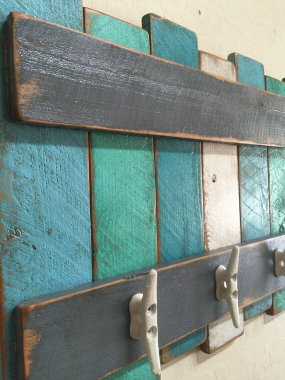 Nautical Coat Rack, Beach Theme Coat Rack, Rustic Beach Wall Hanging, Nautical Wall Decor,Beach Colors,Boat Cleats, Beach Towel Rack Part 59