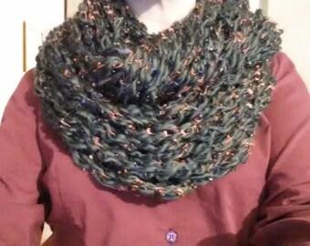 Arm Knit Infinity Scarf - gray