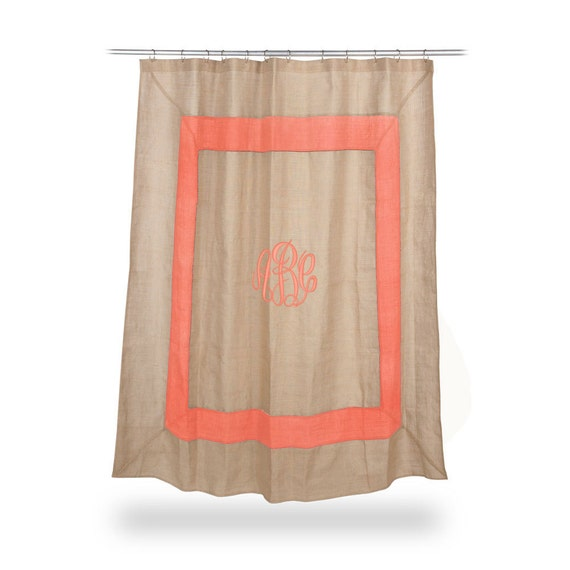 monogrammed burlap shower curtain coral boarder by