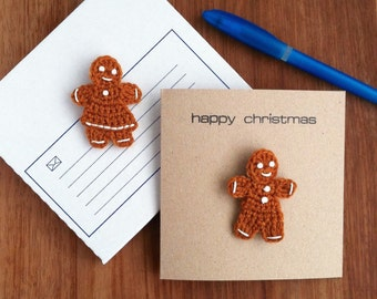 Christmas Card with Gingerbread Brooch / Holiday Greetings Card
