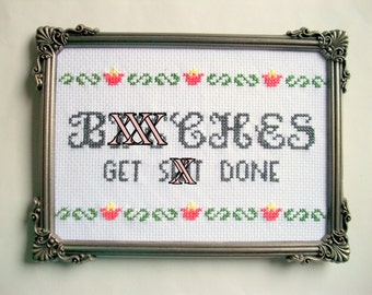 Totally accurate mature cross stitch -- 5x7 completed cross stitch with funny saying