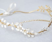 Gold Bridal Headpiece, Gold Bridal Headband with Enamel Flowers and Leaves, Flower Crown, Bridal Head Piece, Leaf Vine Headband, #223HB
