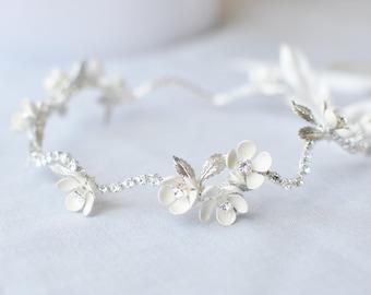 Floral Wedding Crown, Flower Wreath, Flower Vine Bridal Headband, Rhinestone Bridal Headband with Enamel Flowers, Headband, Silver, #220HB