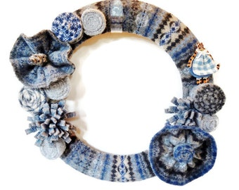 Felted Wool Wreath Fair Isle Blue and Gray Winter Wreath with Clay Kitty