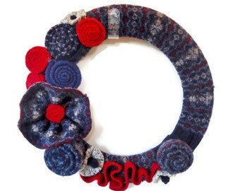 Blue and Red Wool Wreath Fair Isle Cozy Fall and Winter Wreath Knitted Sweater Wreath