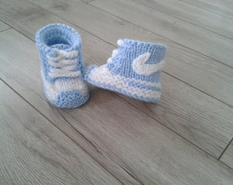 Hand  knitted baby boy  booties ,sandals,Baby shower gift,Baby Photo prop