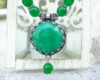 Green Jade Necklace, Silver Plated Jade Pendant, Green Jewelry, Fall Fashion, OOAK, Elegant, Feminine, Women Gifts