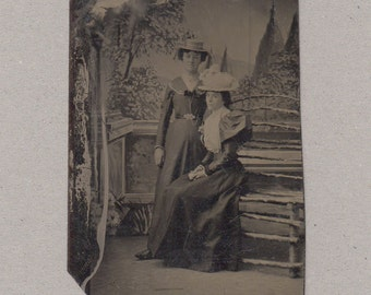 Tintype of Two Well Dressed Ladies ~ Elaborate Backdrop and Prop