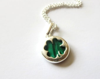 Good luck necklace Four Leaf Clover necklace -  Good luck Green Earrings - Gift for her under 20