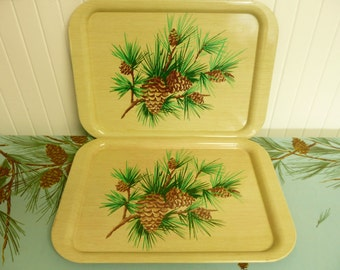 NICE SET, Two Vintage Atomic Tin Metal Serving TV Trays with Lithograph Pine Tree Branches, Needles & Cones, Fall Autumn Cabin Decor