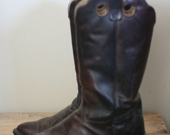 vintage mens dark brown leather cowbot boots by durango size 9.5D