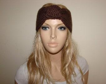 Taupe Brown Knit turban Headband, Chocolate Knot Twist Headband, Knitted Headband, Knit headband, head wrap, woman fashion accessory, boho