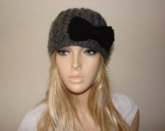 Charcoal Gray Crochet Hat with Black Bow, Knit Woman Cap, Winter hat, Crochet beanie Beanie, Oversized Hat Knit School Girl Beret, Adult cap