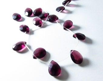 Dark Plum Purple Amethyst Quartz Faceted Briolette Beads 16mm - 17mm