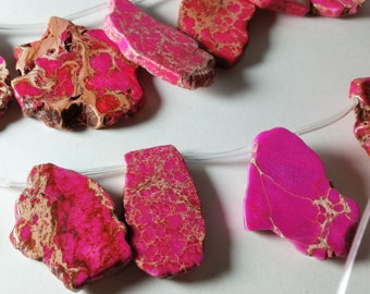 Pink Imperial Jasper Nugget Slices Briolette Pendant Beads 23mm - 56mm