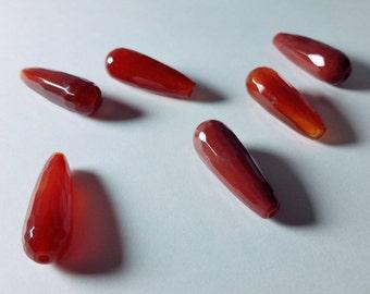 Orange Carnelian Fire Agate Faceted Teardrop Beads 27mm - 29mm
