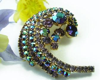 1980s Vintage Pierre Cardin Signature Aurora Borealis Austrian Crystal Brooch/Pin, 14K Gold Plated