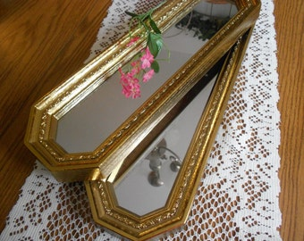 Reduced....Shabby chic two long mirrors, ornate octagon gold Hollywood Regency, Syroco, Homco