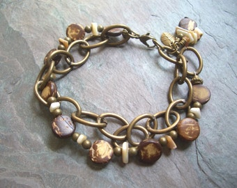 "Brown Coconut Shell Bracelet / Antique Brass / Beads / Double Strand / Chunky Chain / Ivory / Charm - 8"" long - B13"