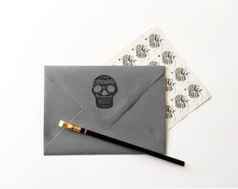 SKULL Hand Drawn Return Address Rubber Stamp