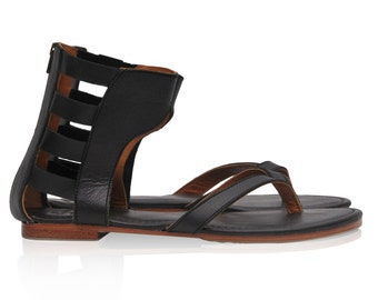ALEXANDRIA. Black leather sandals / barefoot sandals / gladiator sandals / greek sandals. Sizes 35-43. Available in different leather colors