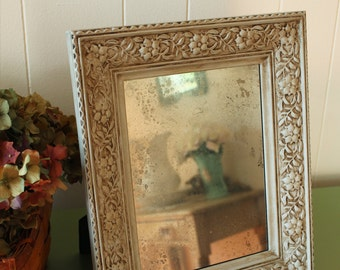 Vanity Mirror Embossed Frame Hand Distressed Glass - Ornate Accent Mirror - Antiqued Mirror - Dresser Mirror with Stand  - Tabletop Mirror