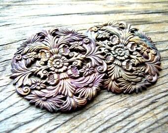 Brass Stamping - Art Nouveau - 49mm - Brass Garnish - Embellishment - Art Nouveau Brass Medallion