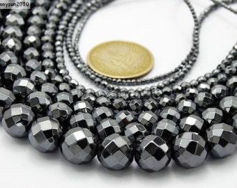Black Hematite Gemstone Faceted Round Beads 15.5'' 2mm 3mm 4mm 6mm 8mm 10mm 12mm Jewelry Design