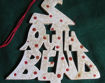 South Bend, handcrafted tree shaped ornament