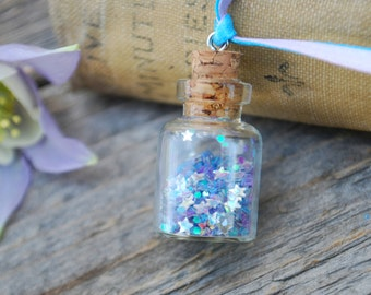 Beautiful Fairy Necklace, Blue and Purple with Iridescent Silver Star, Faerie, Faery, Princess, Dream, Glass Vial, Wish, Star, Glitter