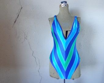 80s v-stripe swimsuit/ aqua indigo turquoise/ knotted shoulders// large