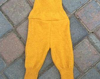 Mustard Yellow Longies Leggings Baby Pants - Size Small Upcycled Wool Diaper Cover/Soaker/Shorties/Longies/Leggings