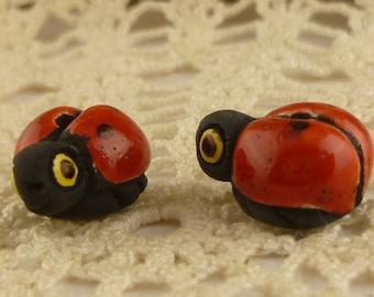 Peruvian Hand Painted Ceramic Ladybug Beads (2)