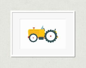 Nursery print, nursery wall art, kids room art, nursery art, tractor print, nursery decor, yellow tractor, tractor art, kids prints