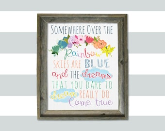 Somewhere Over the Rainbow 8x10 digital printable