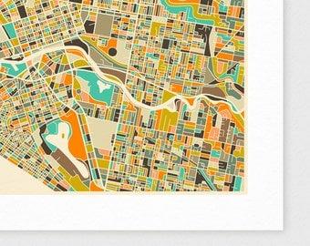 MELBOURNE Map, Giclee Fine Art Print, Modern Wall Art for the Home Decor
