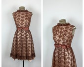60s Brown Floral Lace Party Dress • 1960s Lame Lined Fit and Flare Dress • Satin Bow Belt • Sleeveless Juniors Dress • Medium • Large