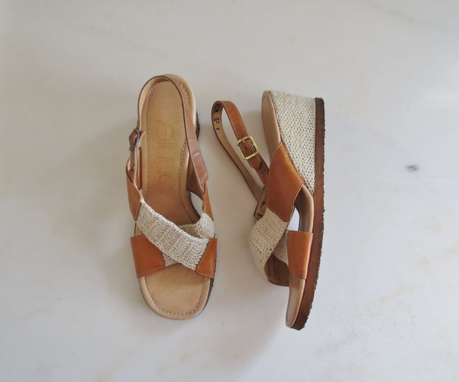 70s wedge sandals size 8 us