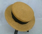 Vintage Straw Boater Hat, 1920's Summer Hat