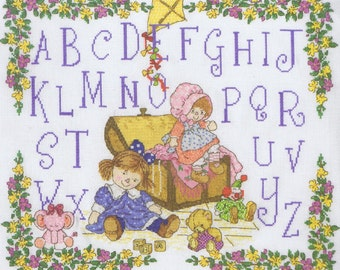 Sarah Kay ABC Sampler Cross Stitch Kit DMC On 16 Count