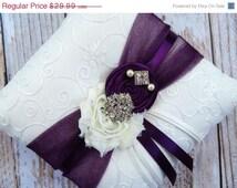 ON SALE Ring Bearer Pillow  / Plum Ring Bearer Pillow / YOU Design /  Ring Bearer Pillow / Deep plum Wedding pillow